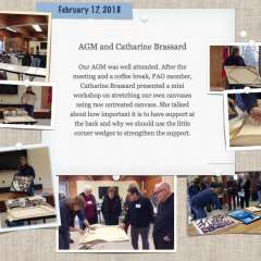 February 17, 2018 AGM and Catharine Brassard stretching canvas